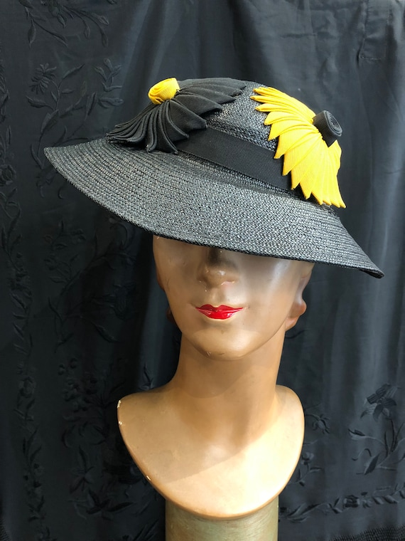 30's straw hat with black and yellow flowers