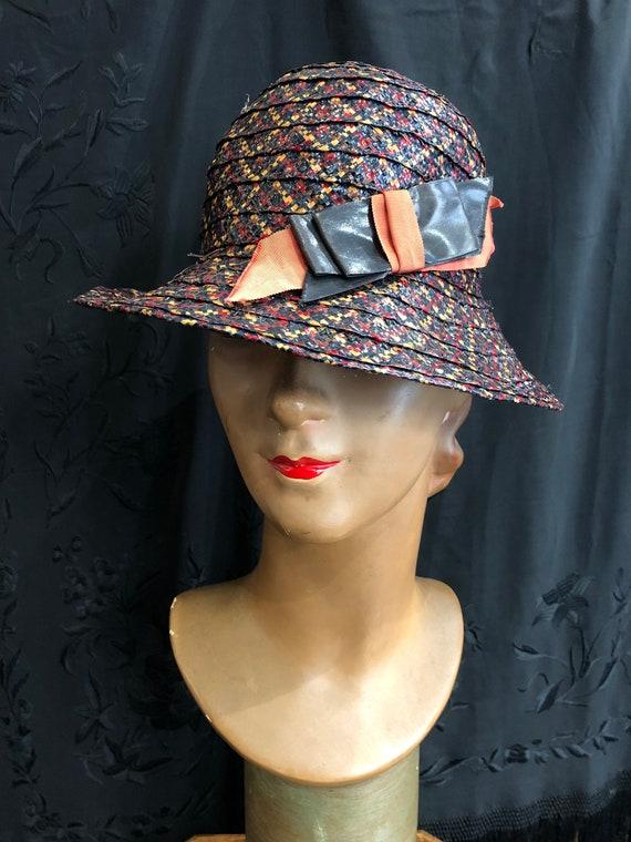 30's multicolored straw hat