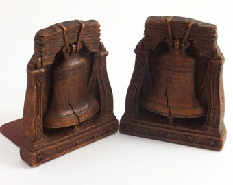 Liberty Bell Bookends Set of 2 / Resin with Metal Plate