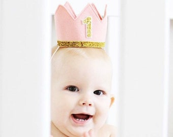 Baby Girl First Birthday Hat | First Birthday Crown | 1st Birthday Girl Outfit | Felt Birthday Crown | First Birthday Girl | Blush Gold
