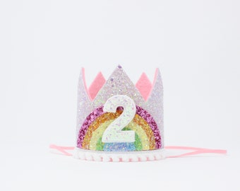 2nd Birthday Crown Pastel Rainbow