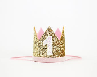 First Birthday Crown | 1st Birthday Girl Outfit for Cake Smash | Baby Girl First Birthday Outfit | 1st Birthday Hat | Gold Baby Pink White