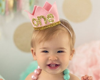 Birthday Crown of Felt | 1st Birthday Girl Outfit | Felt Birthday Crown | Baby Girl First Birthday Hat | First Birthday Girl | Pink Gold