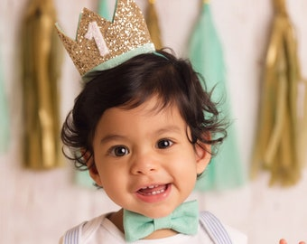 1st Birthday Boy Crown | first birthday boy smash cake outfit | first birthday hat 1st birthday hat | 1st birthday boy outfit | Gold Mint