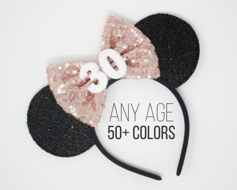 30th Birthday Minnie Mouse Ear Headband  30th Birthday Disney image 0