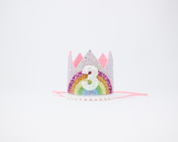 3rd Birthday Crown Girl Pastel Rainbow Party