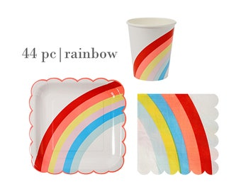 Rainbow Birthday Party Set | Rainbow Paper Cups | Toot Sweet Rainbow Paper Plates | Meri Meri Rainbow Napkins | Rainbow Tableware 44pc Set  sc 1 st  Etsy : rainbow paper plates - Pezcame.Com