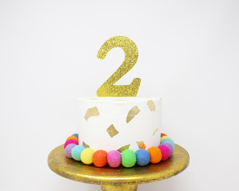 Number Cake Topper Any Birthday Glitter Smash