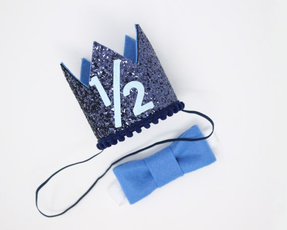 Half Birthday Boy Crown Bow Tie Hat 1 2