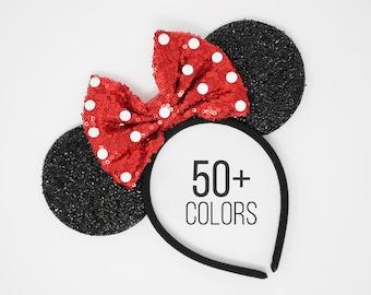 Mouse ears with Polka Dots | All Ages | Polka dot Mouse ears | Mouse ear headband | Dress up ears | Red Polka Dot Mouse ears | Choose color