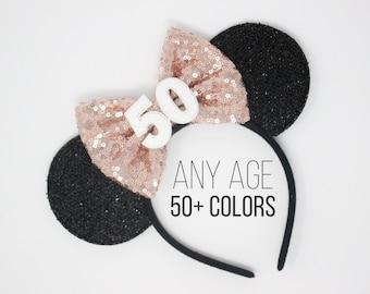 50th Birthday Mouse Headband | 50th Birthday Ears | 50th Birthday Mouse Ears | 50th Birthday Party Ears | Choose Age + Bow Color