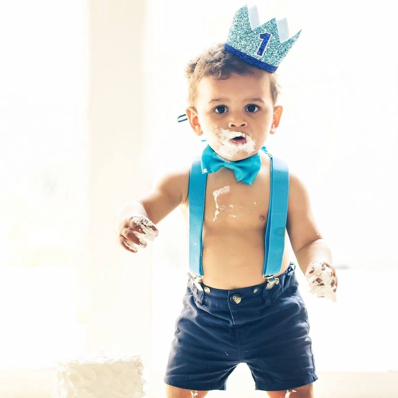 1st Birthday Boy Crown First Smash Cake Outfit