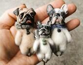 Big pins (7cm) Pug, French bulldog, English bulld