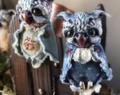Brooch denim owl