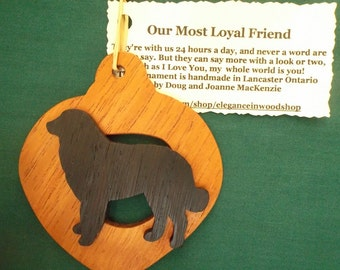Bernese Mountain Dog Ornament personalized with your dog's name