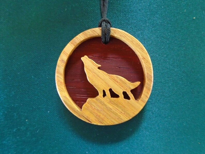 Wolf Necklace, Spirit Animal Pendant, Howling wolf Pendant, Wolf spirit,  Handcrafted Exotic Wood Pendant made of canarywood and wenge
