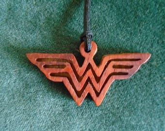 Wonder Woman Pendant, D C Comic Jewelry, Cosplay Necklace, Super Hero Jewellery, Handmade Wood Necklace