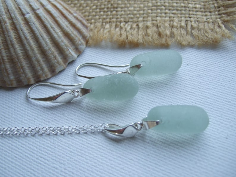 dangling jewelry beach glass bottle topper necklace and earring set elegant jewellery drop shaped earrings Sea glass stopper jewelry set