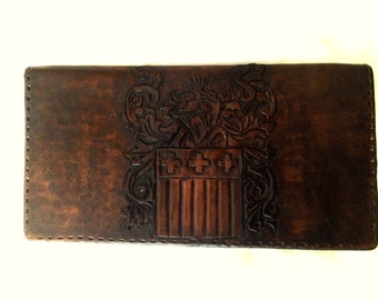 Heraldic Leather Wallet/Checkbook