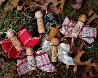 Upcycled Cork Angel Christmas Ornaments, Gift Tags or Wine Bottle Gift Tags ***FREE SHIPPING***