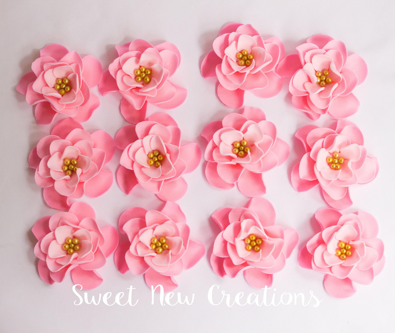 edible flowers 2 vintage pink fondant flowers cupcake | Etsy