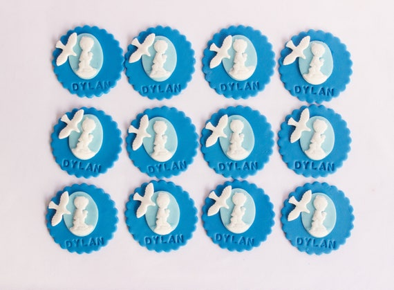 Dove and Cross Blue Edible Icing Cake Topper Circle,Christening,Confirmation