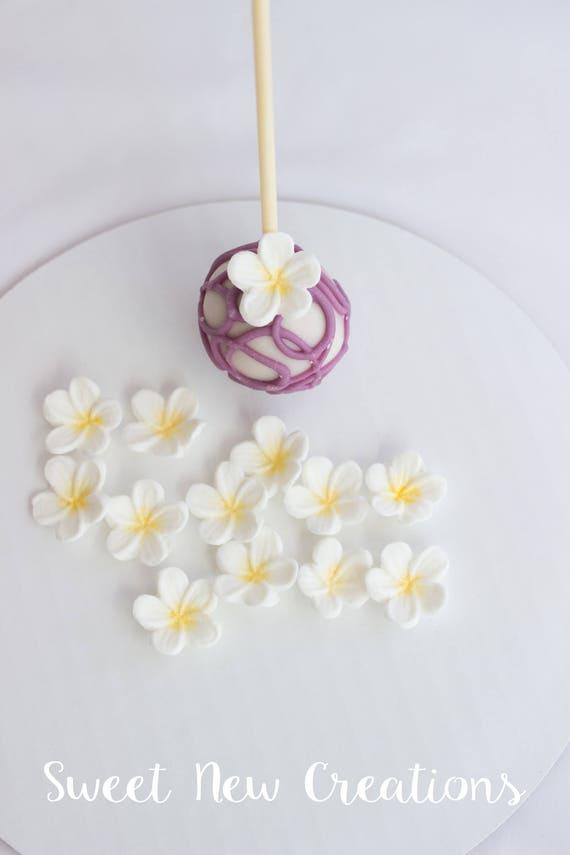Frangipani edible flowers 125 white fondant flowers etsy image 0 mightylinksfo