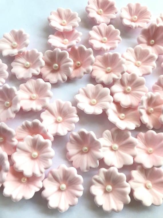 Edible Flowers 36pcs Soft Pink Fondant Flowers Vintage Cupcake Etsy