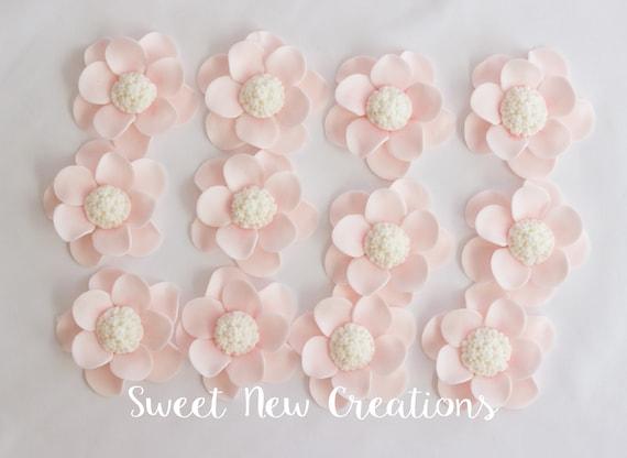 Blush pink fondant flowers rose edible flowers vintage wedding etsy image 0 mightylinksfo