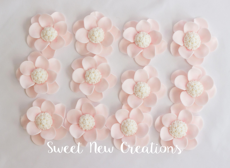Blush Pink Fondant Flowers Rose Edible Flowers Vintage Wedding Etsy