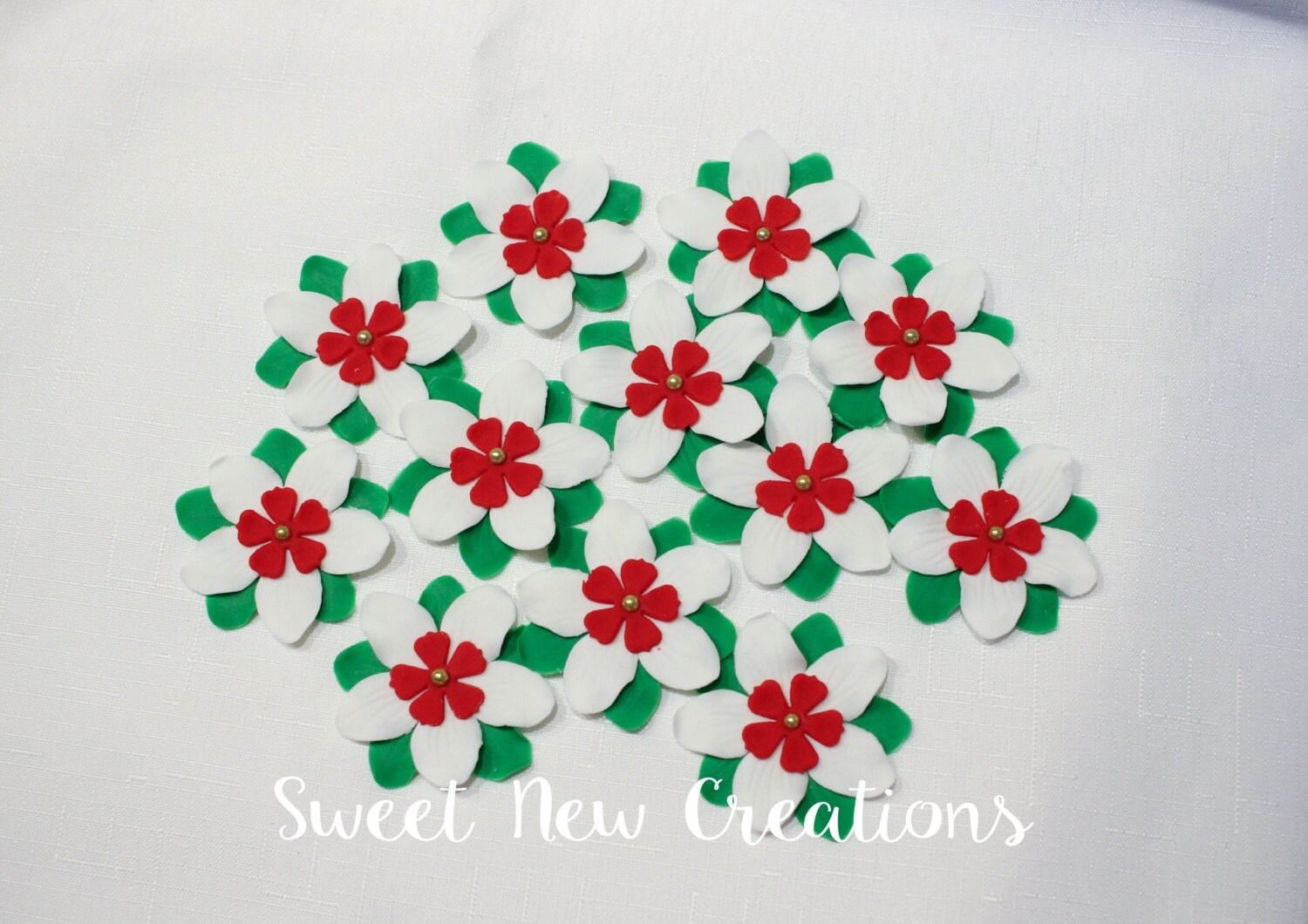 Mexican Fondant Flowers 25 Green White Red Edible Etsy