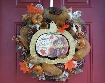 Autumn Deco Mesh Wreath, Fall Wreath, Happy Harvest Wreath, Pumpkin Lights Wreath, Scarecrow Wreath, Fall Home Decor