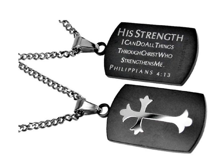 """Battle Cross Necklace """"His Strength"""""""