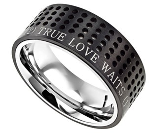 "Black Sport Ring ""True Love Waits"""