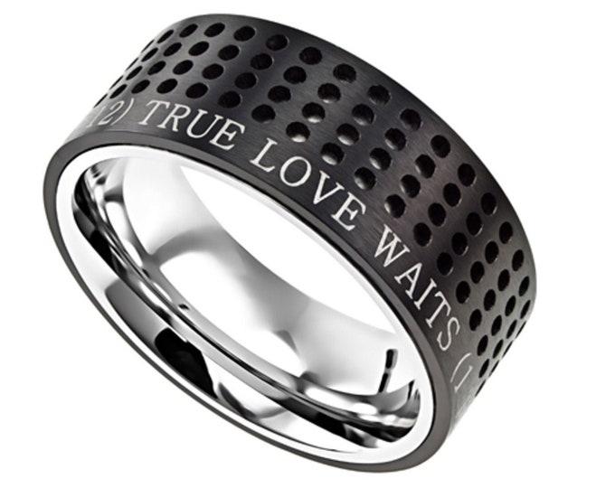 "Black Sport Ring ""True Love Waits"""