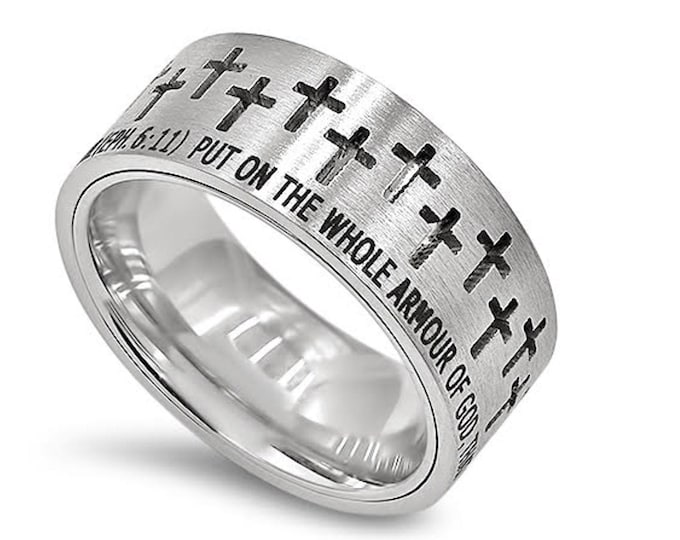 """Silver Crosses Ring """"Armour Of God"""""""