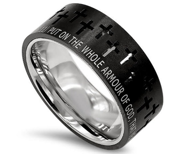 "Black Crosses Ring ""Armour Of God"""