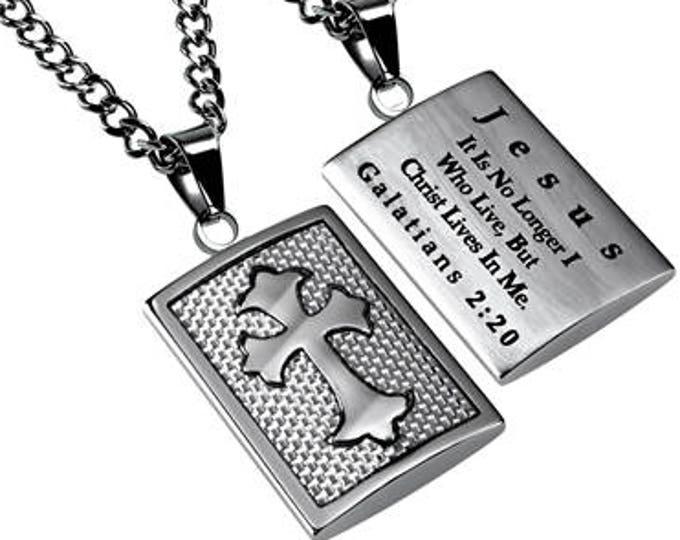 "Shield Cross ""Christ In Me"" Silver Carbon Fiber"