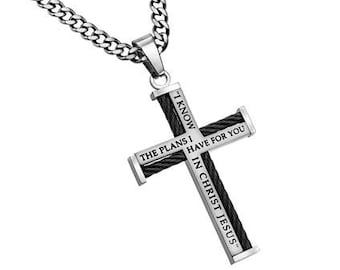 "Cable Cross Necklace  ""I Know"""