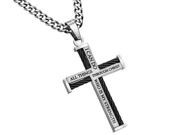 "New Horizon Cross Necklace ""Christ My Strength"""