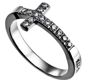 "Sideway Cross Ring ""Christ My Strength"""