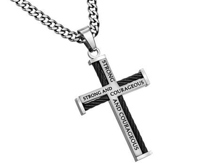 "Cable Cross Necklace ""Courage"""
