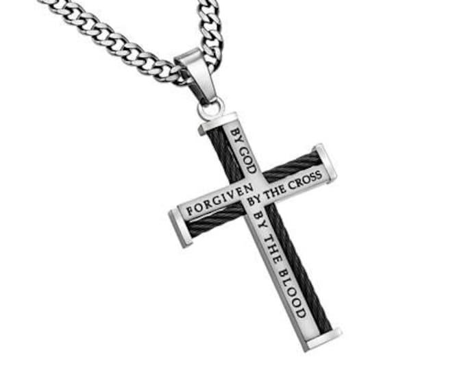 """Cable Cross Necklace """"Forgiven"""""""
