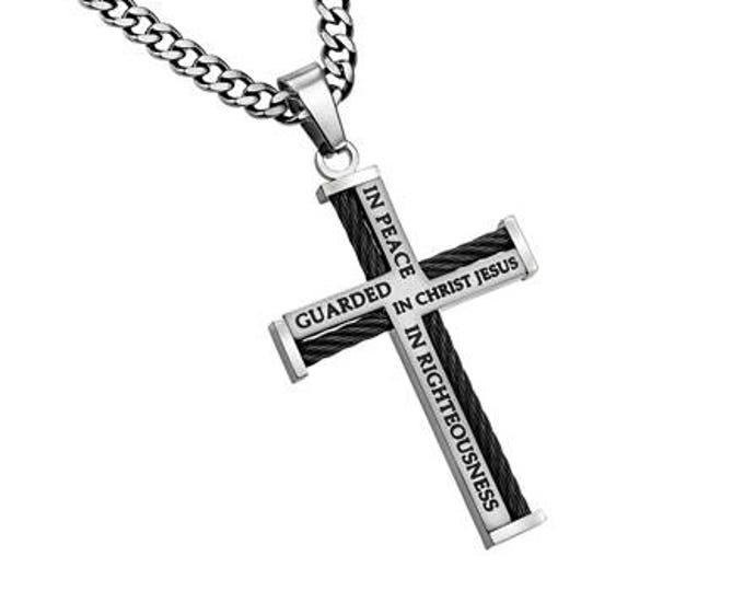 """Cable Cross Necklace """"Guarded"""""""