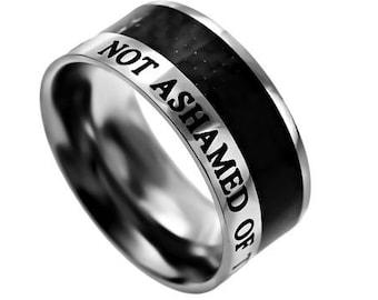 "Carbon Fiber Ring ""Not Ashamed"""