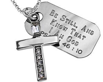 Palladium star sterling necklace /Custom Verse Tag- Women's