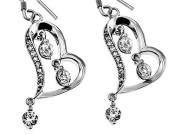 CZ Dangling Heart Earrings