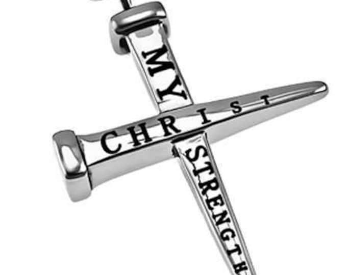"2 Nail Cross ""Christ My Strength"""