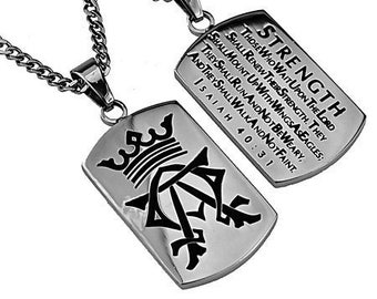 "Alpha Omega Dog Tag ""Strength"""