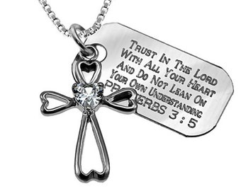 Daisy heart star sterling cross necklace with engraved Bible Verse charm